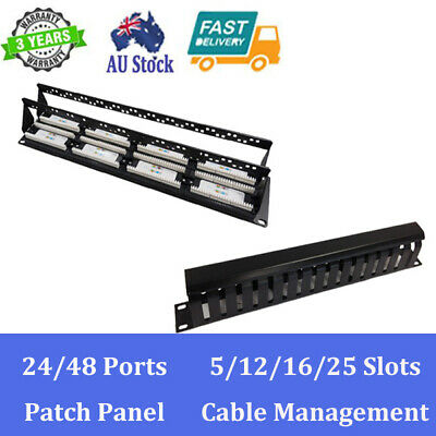 """24/48 Ports Patch Panel D-ring/12/16/25 Slots Cable Management for 19"""" Cabinet"""