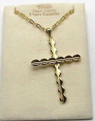 Vintage Ladies Large 9Ct Rolled Gold Plated Religious Cross Pendant Necklace Nos