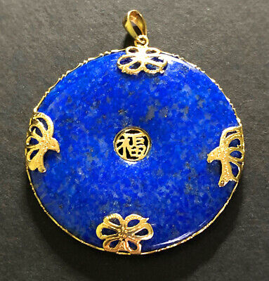 Vintage Chinese Large 14k GOLD & LAPIS LAZULI Butterflies Luck Fortune Pendant