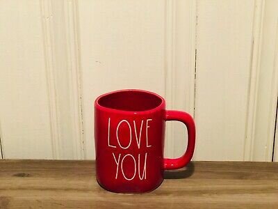 Rae Dunn Valentine's Day By Magenta Heart LOVE YOU All Red Farmhouse Coffee Mug