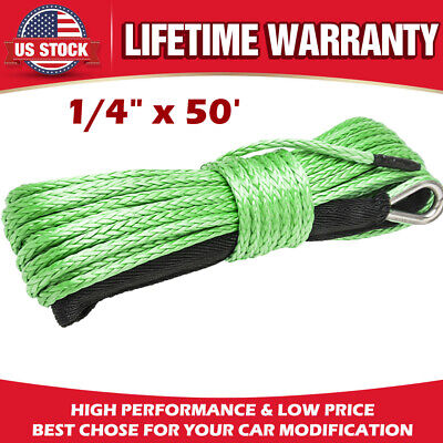 "1/4"" x 50' 10000LBS Synthetic Winch Line Cable Rope w/Sheath For ATV UTV (GREEN)"