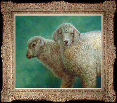 "Hand painted Original art Oil painting Animal Portrait sheep on Canva 20""X24"""