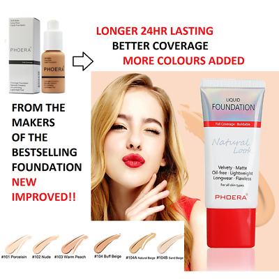 24h PHOERA Liquid Foundation  lasting Makeup Full Coverage Velvety Matte