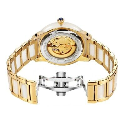 100% Real Chinese Hetian Jade luxury watch white with Gold band