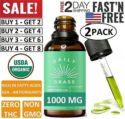 Best Hemp Oil Drops for Pain Relief, Stress, Sleep (PURE and ORGANIC) - 1000 mg