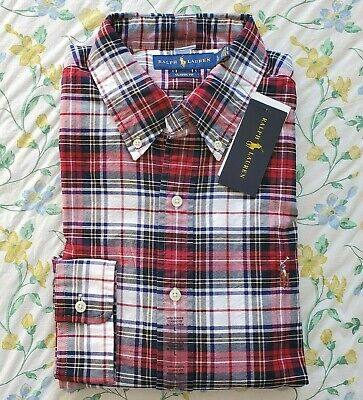 New Mens Polo Ralph Lauren Classic Fit Plaid Oxford Large Shirt Red/ Multi
