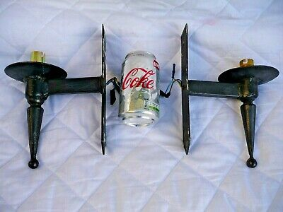 Vintage Pair Iron Gothic Style Single Bulb Wall Lights Architectural Project