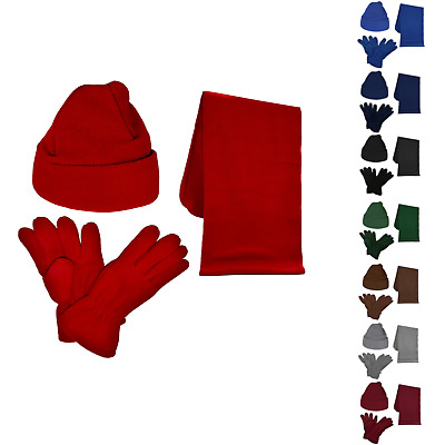 Kids Hat, Scarf, Gloves Set - 3 Piece, Fleece, Soft and Warm, 2 to 12 Years