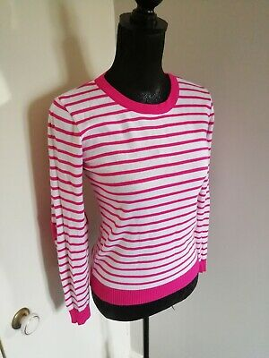 ASOS Ladies Pink/White Cotton Mix Jumper Heart Elbows Size 10 Striped Pretty