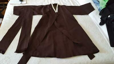 Antique Estate Hand Tailored Asian Brown Woven Kimono Silk Lined, Wedding Formal