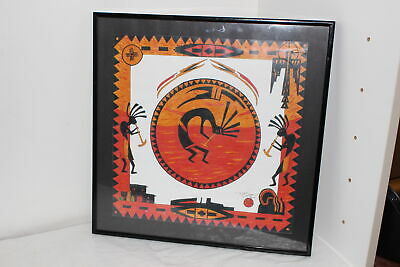 1999 Southwestern Native American 3 Kokopelli Framed Artwork-Signed Lynn Vaughn