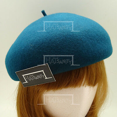 FASHION Wool Felt Women Soft Beret Hat Pillbox Fascinator | 56cm | Midnight Blue