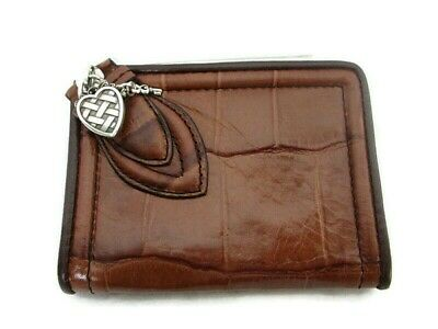 Brighton Moc Croc faux reptile Leather Photo wallet / ID CARD HOLDER  Brown