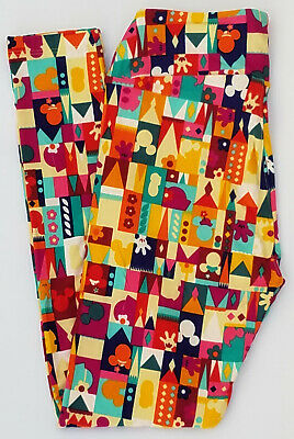 OS LuLaRoe Disney One Size Leggings Mickey & Minnie Mouse Castle Multi Color 198
