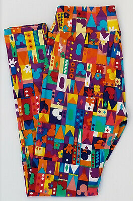 OS LuLaRoe Disney One Size Leggings Mickey Minnie Mouse Castle Multi Color 200