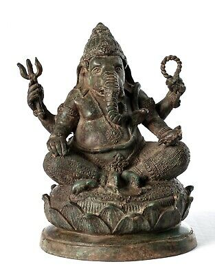 Ganesha Statue - Antique Thai Style Bronze Seated Ganesh Statue - 21cm/8""