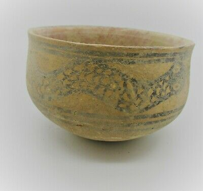 Ancient Indus Valley Harappan Terracotta Vessel With Snake Motifs 2000 Bc
