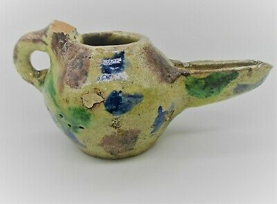 Circa 1200 - 1300 Ad. Ancient Islamic Glazed Seljuk Oil Lamp