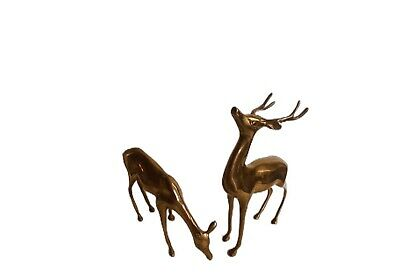 Vintage Large Brass Deer's Figurines Doe Buck Pair Lot Of 2