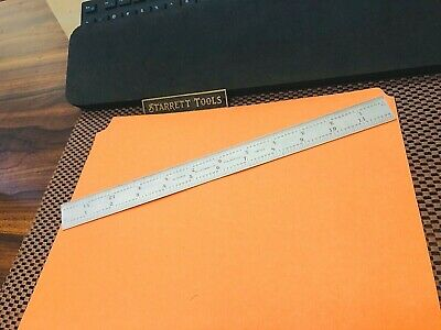 "STARRETT No.C604RE 12"" Long Spring-Tempered Steel Rule With 4R & End Graduation."
