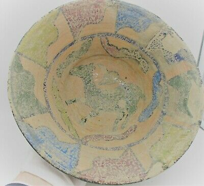 Ancient Persian Khorasan Glazed Terracotta Bowl