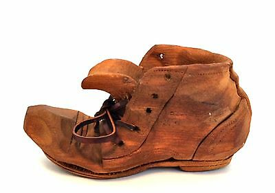 Old Wooden Shoe Hand Carved The Whittlers Unsigned Leather Lace 5 inches Long