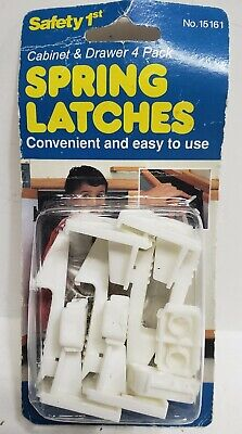 Vintage Safety 1st Spring Loaded Cabinet & Drawer Latches 4pk, Baby made in 1994