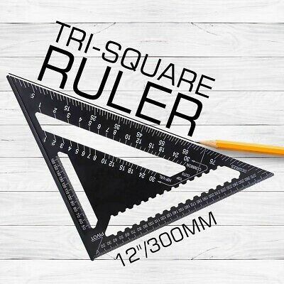 12'' Big ROOFING SPEED SQUARE ALUMINIUM RAFTER ANGLE MEASURE TRIANGLE GUIDE 23D