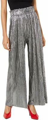 BE BOP Pants Silver Size Large L Juniors Pleated Paperbag-Waist Stretch $44 244