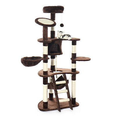 US 57In Scratching Post Cat Tree House Condo Tower Play Kitty Climbing Furniture