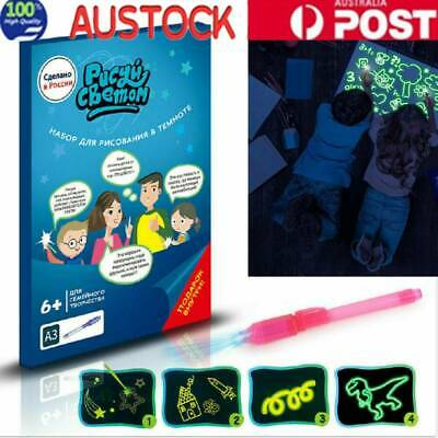 Draw w/ Light Fun & Developing Toy Luminous Pen Drawing Board for Little Artists