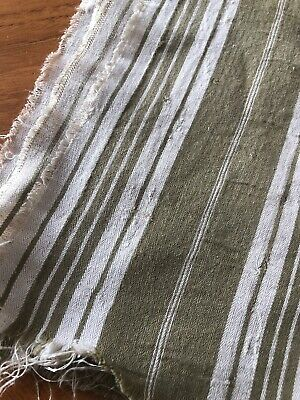 Nice Piece Of French Vintage Ticking Fabric Olive Green Beige White Stripe