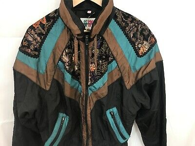 Vintage Womens Patterned Track Top Size M Fit Is S