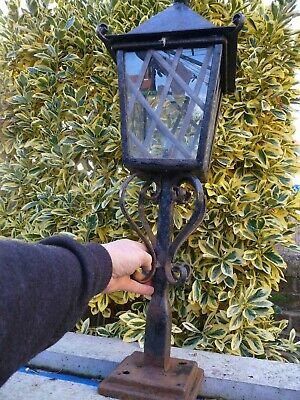 Vintage Large Iron Pillar Light Lamp-Driveway Garden Wall Walkway Patio Project