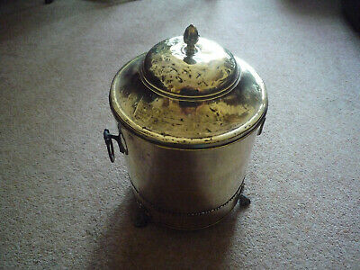 Vintage Decorative Brass Log / Coal Bucket With Lid and liner.