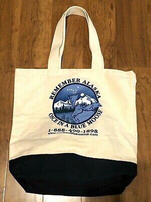 Once In A Blue Moose Alaska Souvenir Canvas Tote Bag