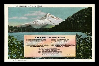 Us Linen Postcard Mt Hood From Lost Lake Oregon Out Where The West Begins Lyrics