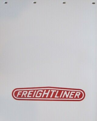 """WHITE POLY 24""""x30"""" MUD FLAPS """"FREIGHTLINER"""" LOGO -  PAIR"""