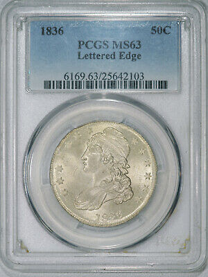 1836 PCGS MS63 Bust Half, lustrous very light toned eye appealing coin, R-4 var.