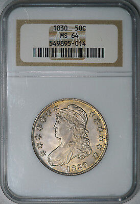 1830 NGC MS64 Bust Half, lustrous strongly struck piece w/ very nice eye appeal