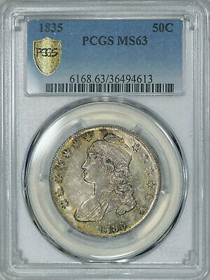 1835 PCGS MS63 PQ Bust Half, attractive old patina & luster, much tougher in MS