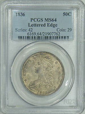 1836 PCGS MS64 Bust Half, a lustrous lightly toned piece with decent eye appeal