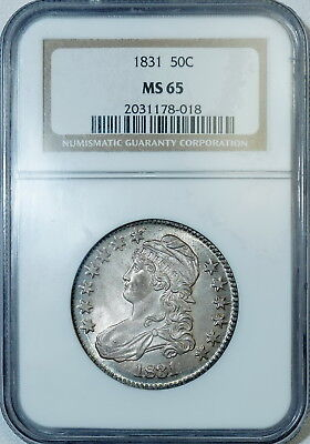 1831 NGC MS65 Bust Half, a nice clean lustrous original piece with strong strike