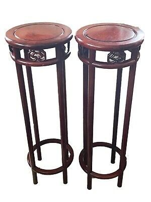 "Rare Old Chinese HuangHuali Rose Wood Stands 36"" H Pair"