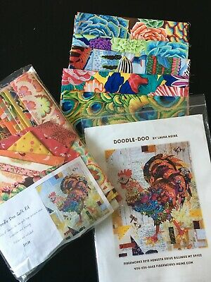 Laura Heine Doodle Doo Rooster Collage Kit - pattern, fabric kit, extra fabric