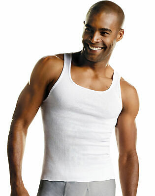 ToBeInStyle Mens Pack of Fine Ribbed Cotton Scoop Neck Sleeveless Tanks