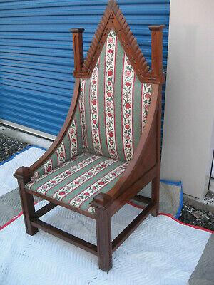 Attractive Antique Gothic Throne or Bishops Chair, Nicely Carved 65""