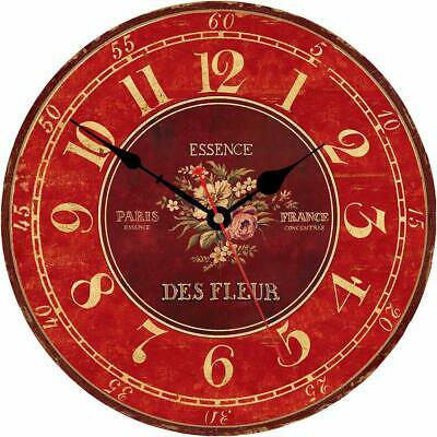 "Wall Clock 14"" Red Floral Flowers French Paris Style Shabby Chic Farmhouse"