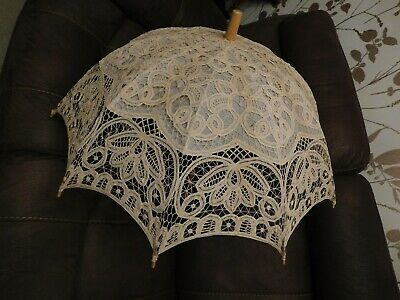 Vintage Style Cream Lace Parasol Theatrical Prop Wedding Sunshade