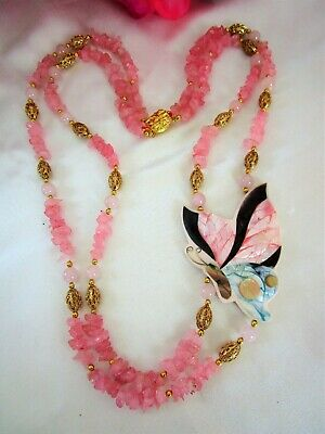Gorgeous Rose Quartz Vintage Inlaid Mother Of Pearl Pink Butterfly Necklace!